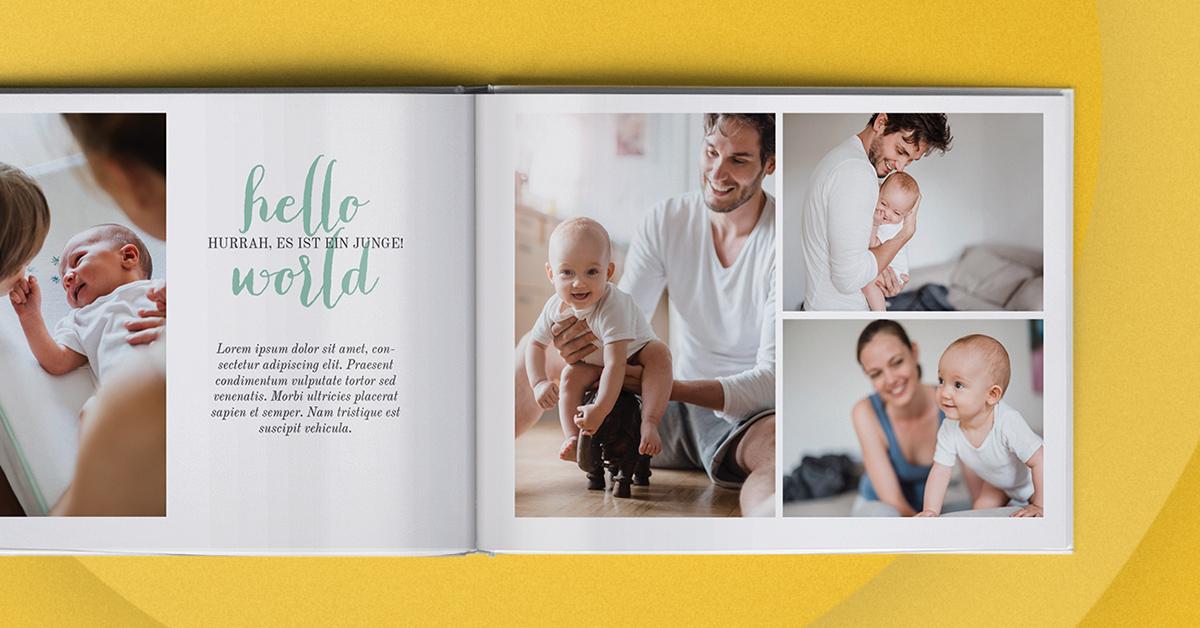 Erstelle ein erstes Fotoalbum für dein Baby mit albelli